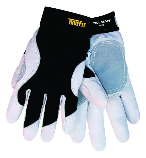 1470S - 1470 TrueFit™ Goatskin Gloves-Trade and Utility Gloves-TrueFit, White top grain Goatskin leather, Leather and spandex design-Small---UOM: 1/EA