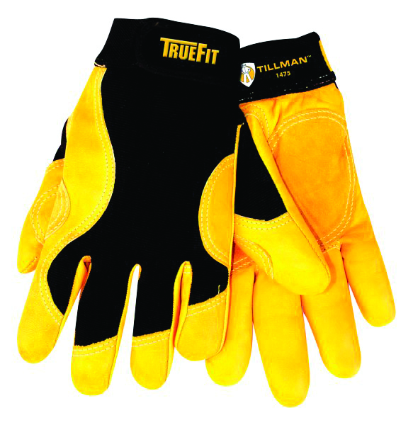 1475M - 1475 TrueFit™ Cowhide Gloves-Trade and Utility Gloves-TrueFit, Top grain Cowhide construction, Leather and spandex design-Medium---UOM: 1/EA