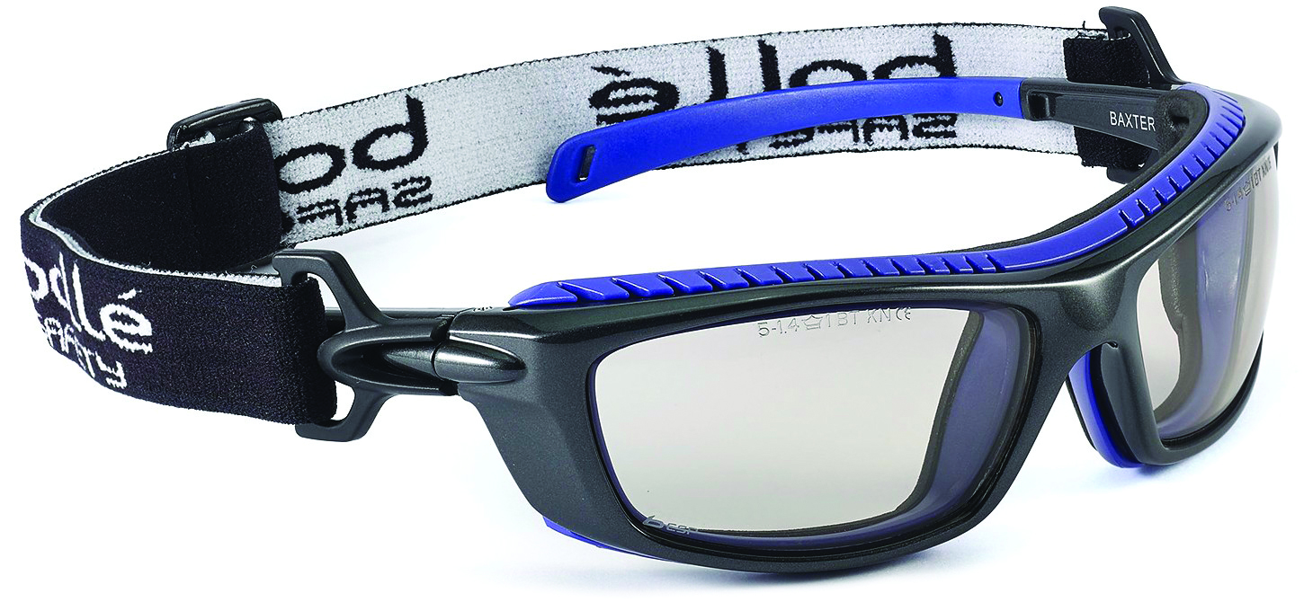 40276 - Baxter Safety Glasses/Goggles-Black/Blue Frame - Clear Anti-Fog/Anti-Scratch Lens Coating-----UOM: 1/EA