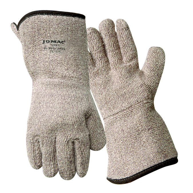 636HRL - Jomac® Brown & White Gauntlet Cuff Lined Gloves-Heat Resistant Gloves-Jomac® Brown and White Flame Retardant Gloves, up to 450°F-XLarge---UOM: 12/PK