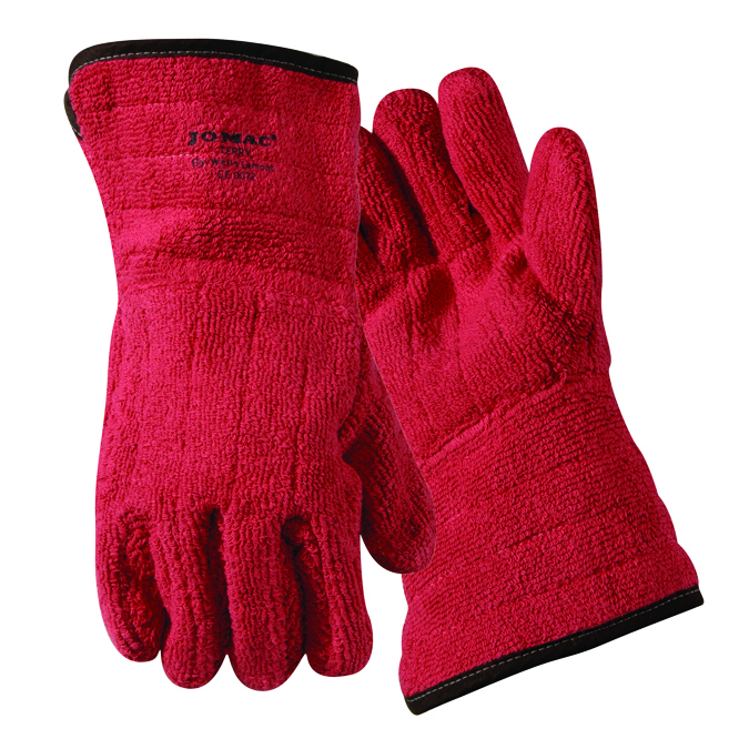 636HRLFR - Jomac® Brown & White Gauntlet Cuff Lined Gloves-Heat Resistant Gloves-Jomac® Red Flame Retardant Gloves, up to 450°F-XLarge---UOM: 12/PK