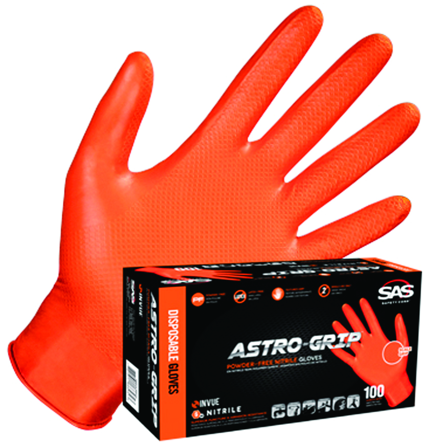 66572 - Astro-Grip™ Nitrile Gloves-Disposable Gloves-Astro-Grip, Orange Nitrile Gloves, 7 mil, powder-free-Medium---UOM: 100/BX