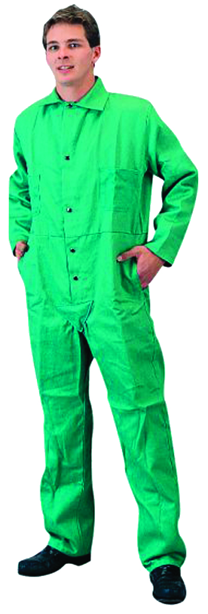 6900L - Flame-Retardant Green Cotton Coveralls-Large-Flame-Retardant Green Cotton Coveralls----UOM: 1/EA