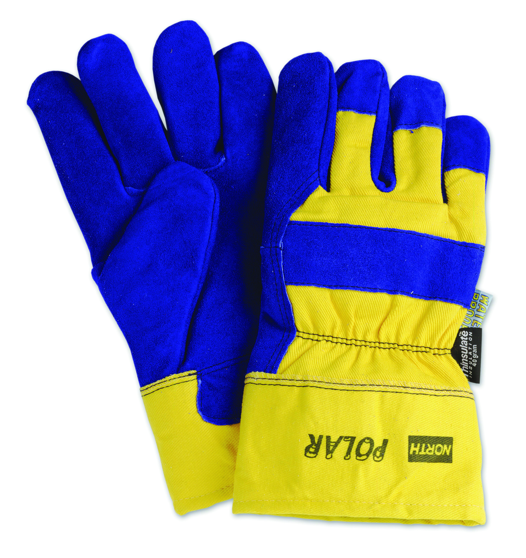 70/6465NK - North Polar® Insulated Leather Palm Gloves-North Polar® Insulated Leather Palm Gloves-Blue & Yellow----UOM: 12/PK