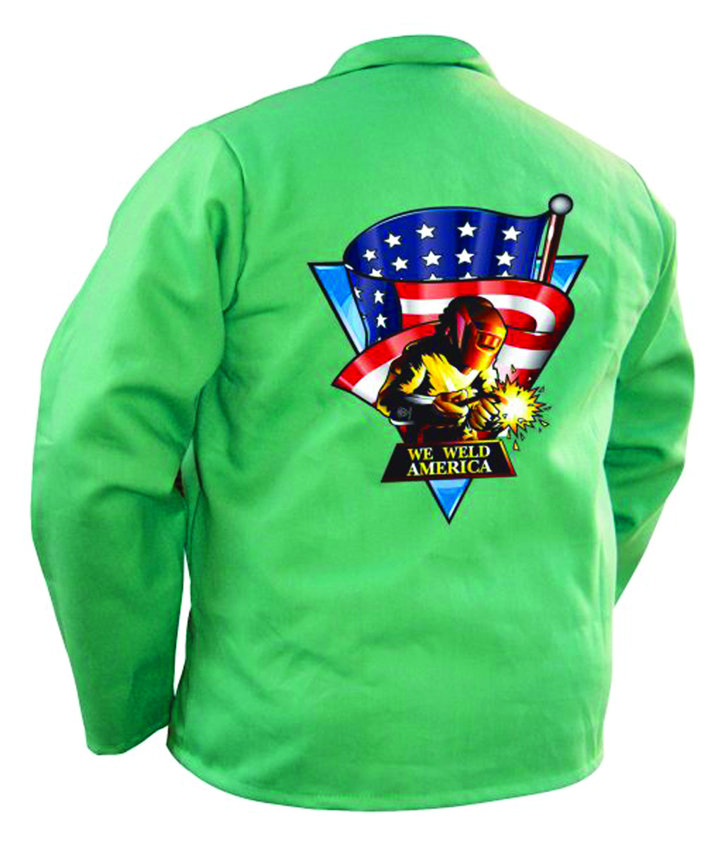 9030L - We Weld America Screen Print Green Jacket-Large-Flame-Retardant Cotton Jackets----UOM: 1/EA