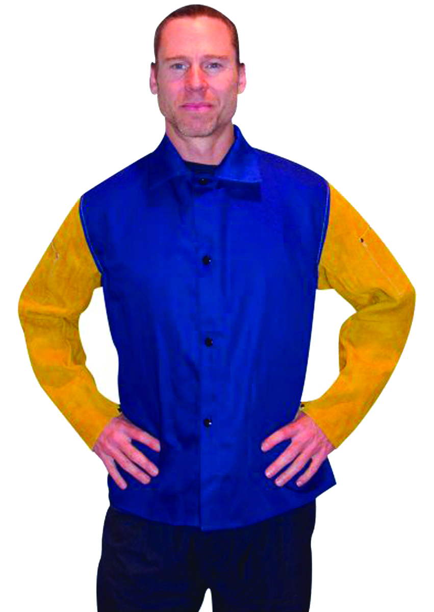 9230M - Combination  Flame-Retardant  Blue Cotton Torso  and Leather Sleeves-Medium-Flame-Retardant Cotton and Leather Jacket----UOM: 1/EA