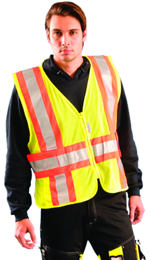 LUX-SC2TZ-YM/L - Class 2 Expandable Two-Tone Premium Mesh Vests-Class 2 Premium Two-Tone Expandable Vest-Yellow/Orange, Medium-Large----UOM: 1/EA