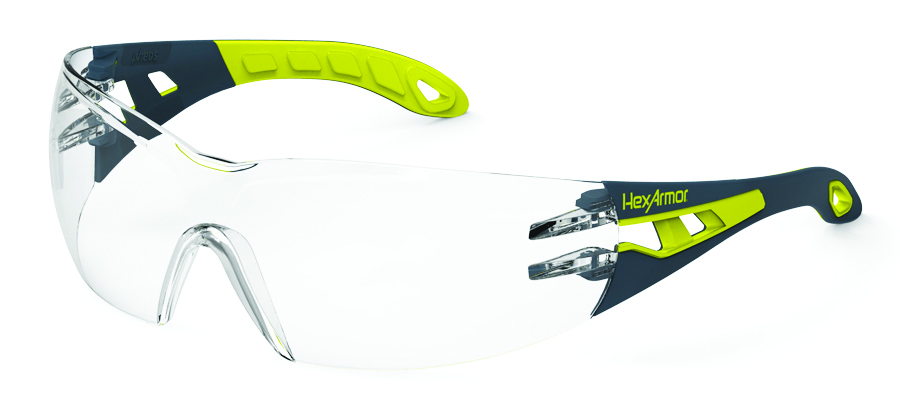 11-10001-02 - HexArmor® MX200 Eyewear-Green/Grey Temples, Clear Lens, TruShield® Coating-----UOM: 1/EA