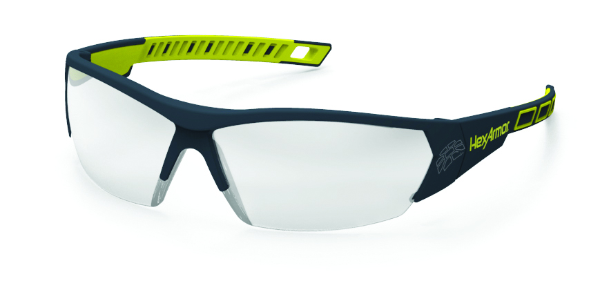 11-14001-02 - HexArmor® MX250 Eyewear-Green/Grey Frame, Clear Lens, TruShield® Coating-----UOM: 1/EA