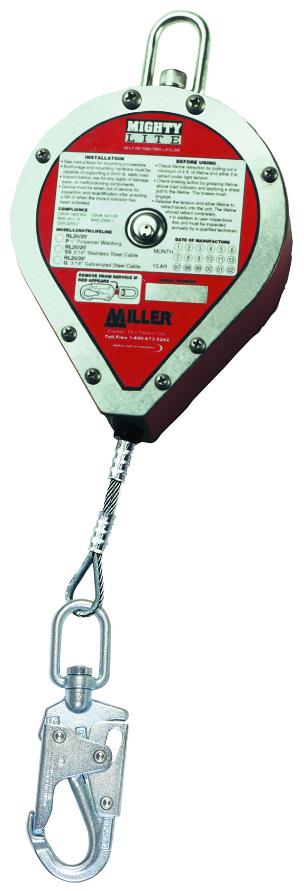 RL20G-Z7/20FT - Miller MightyLite™ Self-Retracting Lifelines-Self-Retracting Lifelines-SRL with 20 Ft. (6 m) - 0.1875