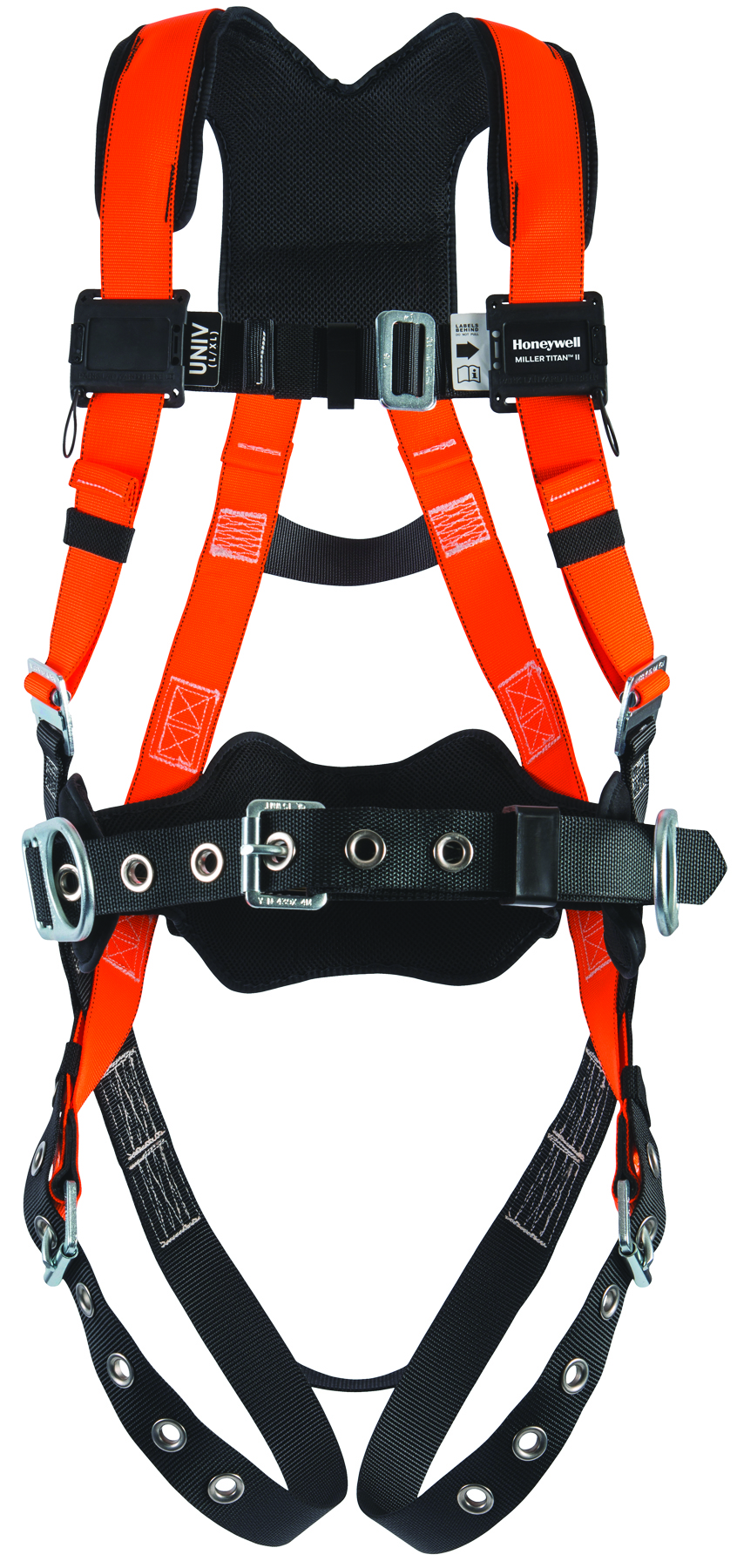 T4577/UAK - Miller Titan™ II Non-Stretch Harnesses-With Sliding Back D-Ring; Tongue Buckle Legs, Mating Buckle Chest; Friction Buckle Shoulder Straps; Side D-Rings; Shoulder/Waist Padding and Removable Belt-Universal Size (Large/XLarge)----UOM: 1/EA