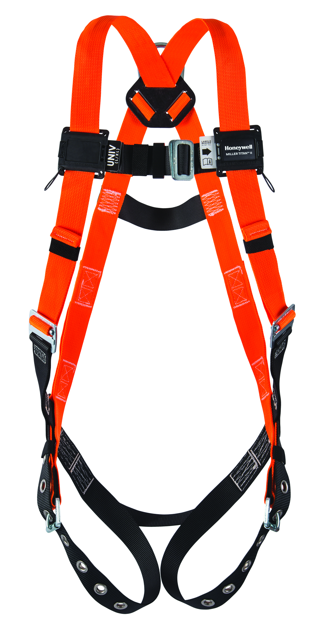 TF4007/UAK - Miller Titan II T-Flex™ Stretchable Harnesses-With Sliding Back D-Ring; Side D's, Mating Buckle Legs, Chest and Shoulder Straps; Sub-Pelvic Strap-Universal Size (Large/XLarge)----UOM: 1/EA